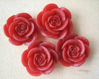 4PCS - Rose Flower Cabochons - 18mm - Red - Cabochons by ZARDENIA