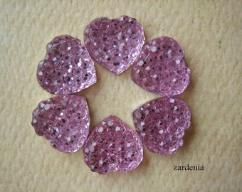 6PCS - Pink - Heart Rhinestone Cabochons - 10mm - Sparkly - Cabochons by ZARDENIA