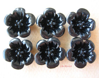 6PCS - Violet Flower Cabochons - 13mm - Resin - Black - Findings by ZARDENIA