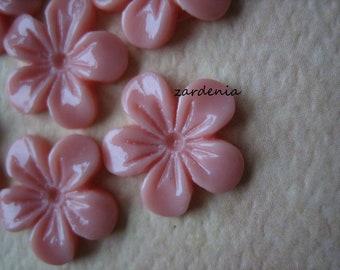 6PCS - Mini Violet Flower Cabochons - 11mm - Resin - Salmon - Cabochons by ZARDENIA