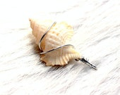 seashell pendant.  Sterling wrapped maple leaf seashell pendant. wire wrapped charm or key fob baby frog white ivory nautical ornament