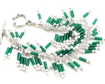 green with beauty. bracelet.  forest green and white bugle and seed bead bracelet. beaded fringe by UniqueNecks