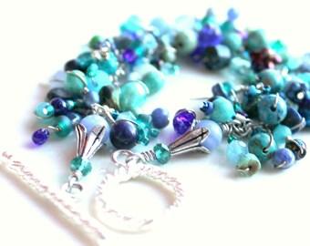 turquoise lapis bracelet / teal and blue wrapped beaded fringe bracelet / hundreds of beads by uniquenecks