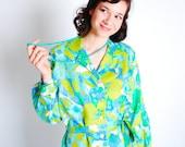 Vintage 1960 Shirt Dress - 60s Floral Dress - Bright Aqua and Green - Plus Size