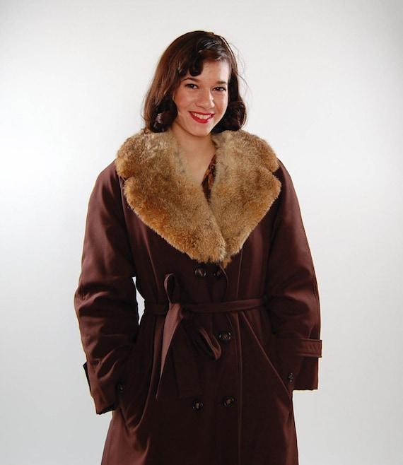 Coat Clearance - Vintage 1970s Coat - 70s Trench Coat - Rabbit Fur Collar