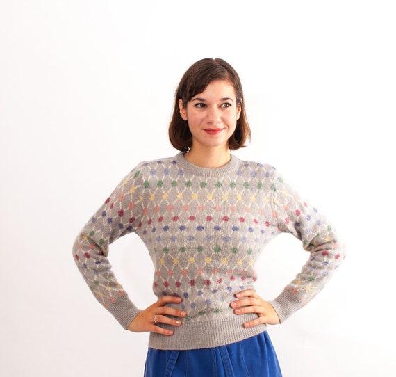 Vintage 1980s Sweater - 80s Sweater - Multicolored Geometric Print