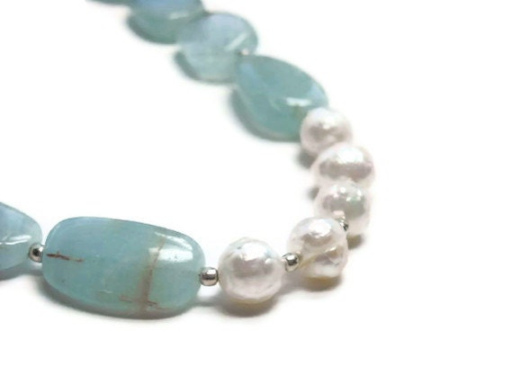 Aquamarine Nugget Necklace, Faceted Freshwater Pearls, March, June, Blue, Pastel, Asymmetrical, Winter, Sterling Silver