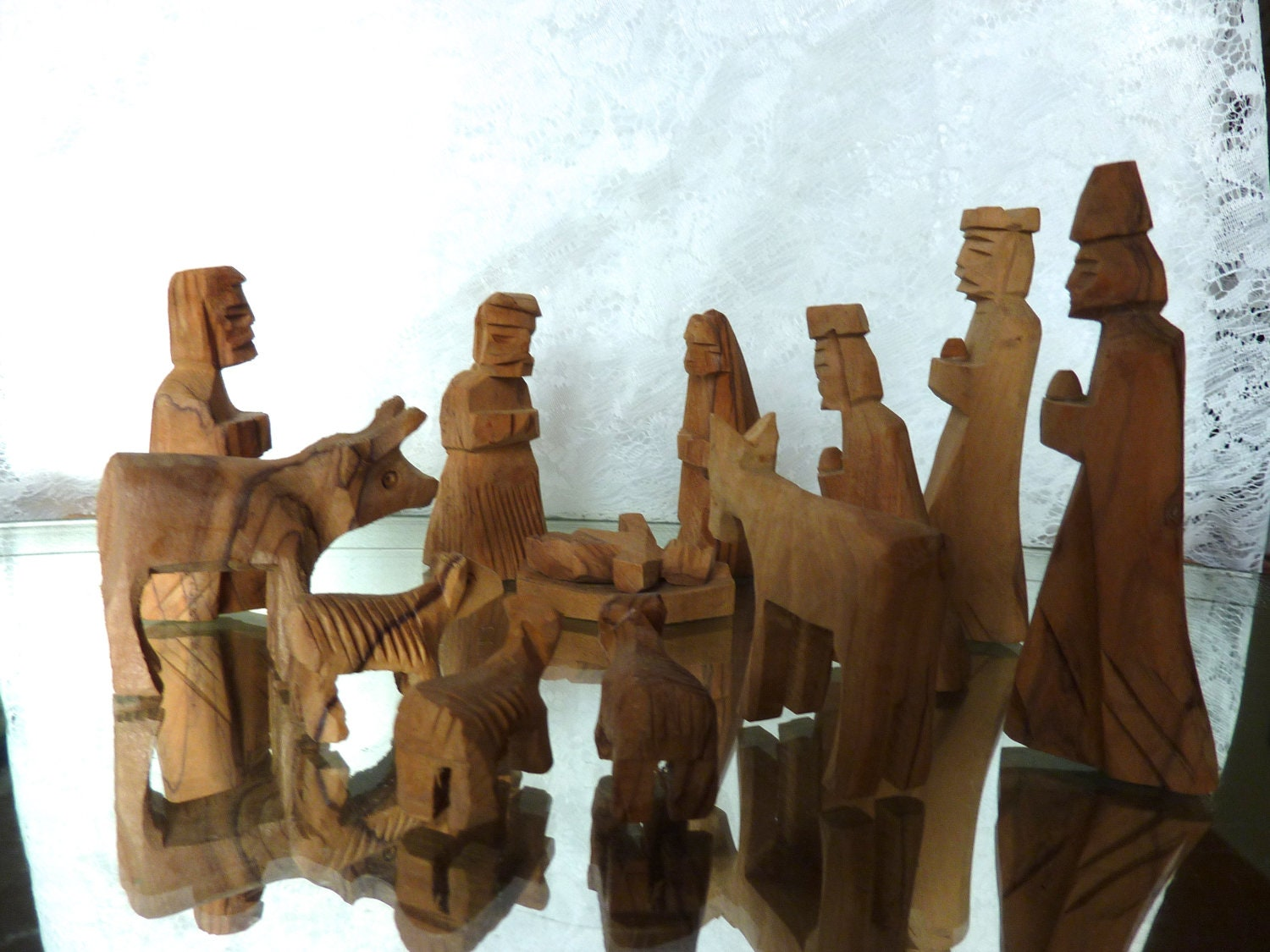 Hand Carved Nativity Set Olive Wood From Bethlehem 13 Pcs