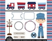 All Aboard the Party Train Clip Art - in Red, Navy, and Light Blue