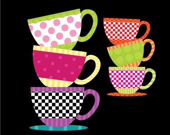 Patterned Teacup Clipart - Teacup Party - 10 Teacup and 10 Saucer