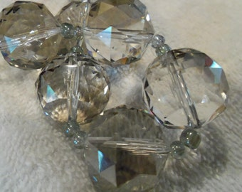 Ice Storm - LARGE 20mm Faceted Crystal Beads - 2 beads