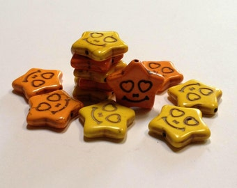 Smiling Stars - Tangerine Sun - Howlite - 12 beads