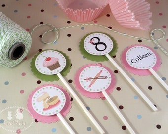 Baking Party Custom Cupcake Toppers - Bake Shoppe Collection