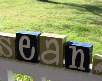 PERSONALIZED LETTER BLOCKS - Custom Name Baby Boy Nursery Shower Decor Car Auto Room - Distressed Shelf Transportation Sign