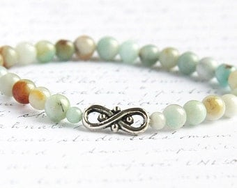 Bohemian Jewelry, Light Blue Amazonite Stone Bracelet. 6mm Stackable Bracelet. Infinity Bracelet. Tribal Inspired. Natural Stone Bracelet
