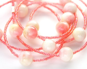 Long Necklace Large Stone Beads Light Pink Tiny Glass Seed Beads Single Strand Necklace Sweater Necklace Versatile Bohemian Jewelry Gift