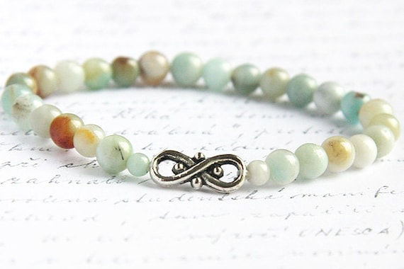 Bohemian Jewelry, Light Blue Amazonite Stone Bracelet. 6mm Stackable Bracelet. Infinity Bracelet. Tribal Inspired. Natural Stone Bracelet