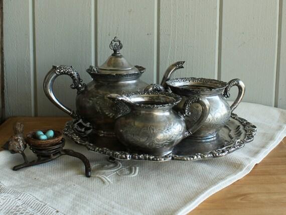 Antique Silverplate Tea Set on Tray
