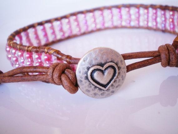 Pink Friendship Bracelet Czech Glass Heart Button