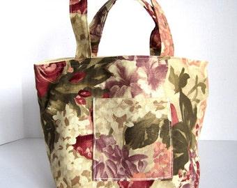 Print Fabric Tote Bag / Floral Cotton Bag / Watercolor Floral Print / Rose Pink / Needlework Bag /Fabric Lunch Bag