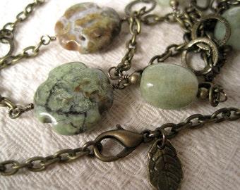 Green Jasper Necklace / Brass Chain Necklace / Stone Cross / Green Stone  Necklace / Stone Station & Chain
