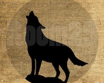 INSTANT DOWNLOAD - Wolf and Moon Illustration - Download and Print - Image Transfer - Digital Sheet by Room29 - Sheet no. 1070