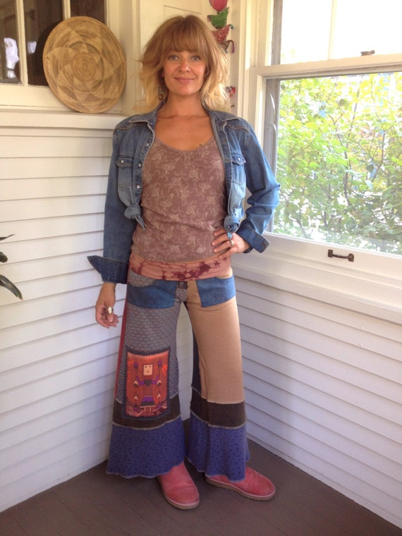 Patchwork Eco Gaucho PANTS,S/ M,  upcycled clothing, pockets, yoga, festival, hippie,gray, dusty blue, tie dye, tribal warrior, by Zasra