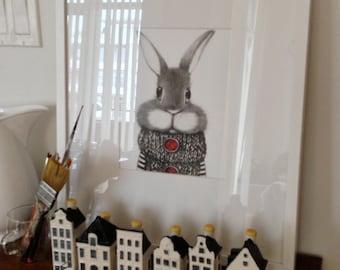 Modern Nursery Art. Bunny Rabbit in a woolen sweater.  Children's illustration, Baby Art