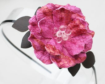 Pink flower headband leather headband leather rose woodland wedding bridal hairpiece floral headband prom wearable art