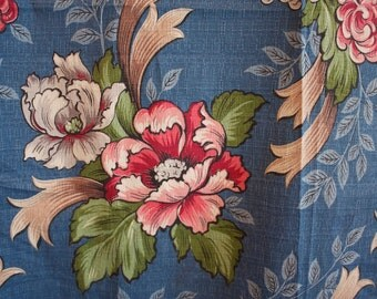 Vintage 1940s 1950s BLUE FLORAL Long BARKCLOTH Curtain Panel