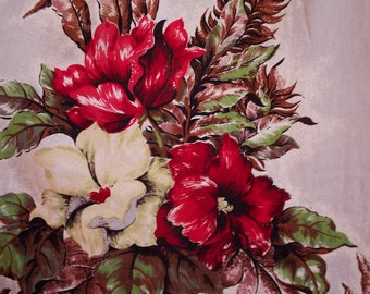 Large 1940s Curtain RED ROSES Bark Cloth CURTAIN Panel