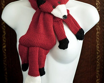 Red Fox scarf cowl neckwarmer NEW DESIGN for WINTER 2012