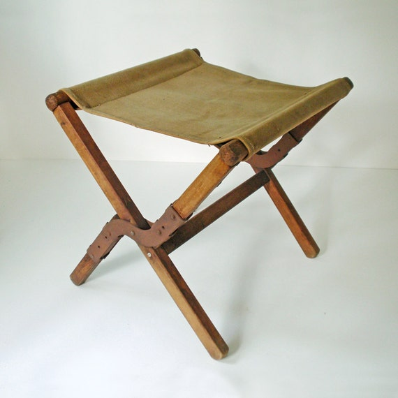 Vintage Canvas And Wood Fold Up Army Stool By Rattyandcatty