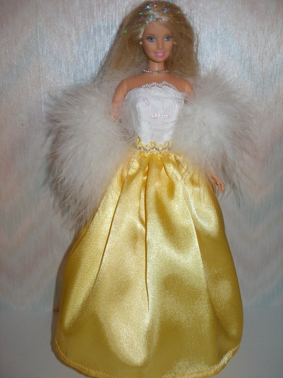 Handmade Barbie clothes - white lace and yellow satin gown with boa