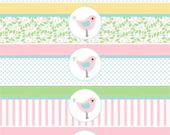 Pastel Bird Printable Water Bottle Wraps - Paper Ribbons Printable party