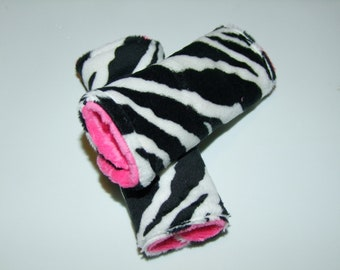 Zebra MINKY Carseat Strap Covers - reversible- Zebra Neck Strap Covers -  Ships in 1-3 Days