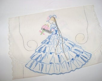 Vintage Embroidered Southern Belle Runner