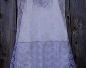 "Final Sale! Recycled Vintage Slip, Recycled Lace ""Silver Dreams"", Wedding, Delicate, Romantic, Shabby Chic Dress"