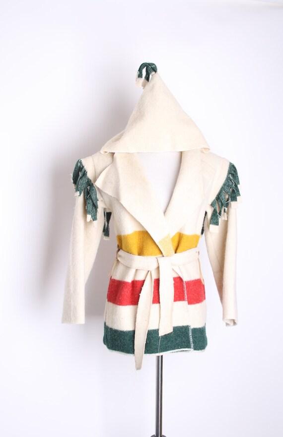 Vintage Hudson's Bay Wrap Jacket / Hudson Bay / Coat / Jacket / Shawl  / Fringe / Western / Vintage Jacket / Bay Coat / Hudson Bay / 1370