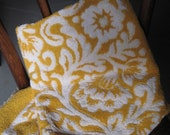 Towel 1960's Bath Towel Yellow