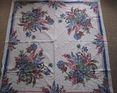 Tablecloth Vintage Blue Floral with Red and Blue Border 1950s