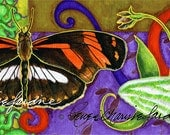 Admiral Ghost Gliceé Print, Artist Signed, Butterfly, Orchid, Moth, Orange, Green, Purple, Horizontal, One in a Set