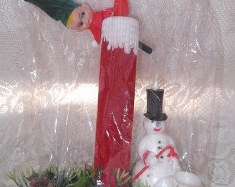 Vintage 1960s Christmas Decoration Deadstock NOS Inside Original Package Happy Holidays Brand Snowman Elf Candle