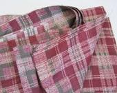 1940s Fabric - 1950s Dress Fabric - Yardage in Red Plaid Cotton Print