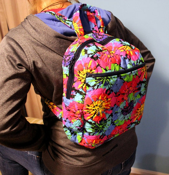 "Quilted Backpack purse in bright colors 4"" deep"