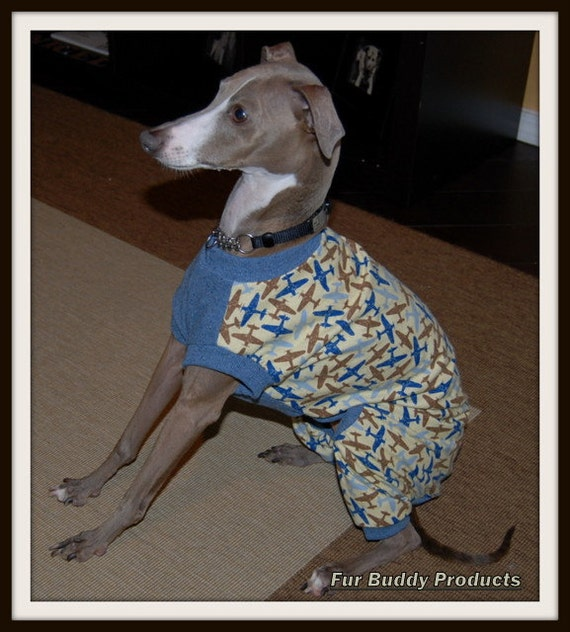 BuddyWear Flannel PJs with Cotton Chest panel for Italian Greyhounds, Whippets  and all small dogs.