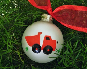 Dump Truck Ornament - Personalized for Birthday or Christmas - Hand Painted, Gift for Boy, Red Dump Truck Party, Construction Vehicle