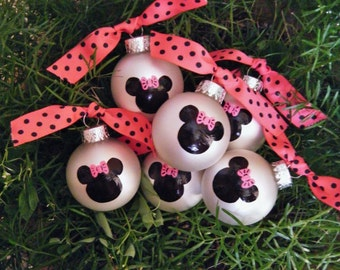 Minnie Mouse Party Favor Ornaments - TWELVE  Personalized Hand painted Glass Ball Christmas Ornaments, Happy Birthday Party Favors, Disney