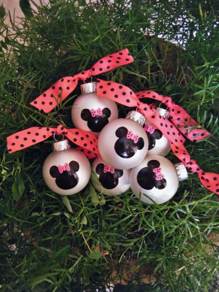 Minnie mouse party favor ornaments twelve personalized hand - Minnie mouse noel ...