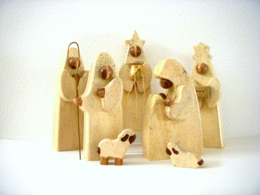 Sale Vintage Danish Modern Nativity Set Abstract Wood Creche